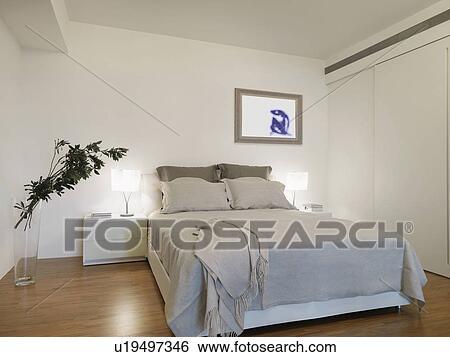 Beau Simple, Moderne, Chambre à Coucher, à, Planchers Bois Dur