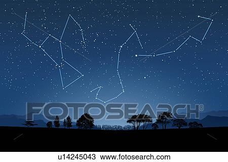 Image of Astrology signs, (Scorpio, Orion Nebula, Ursa Minor) Stock Image
