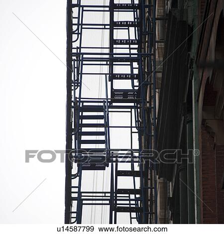 Exterior Fire Escape In Manhattan, New York City, U.S.A.