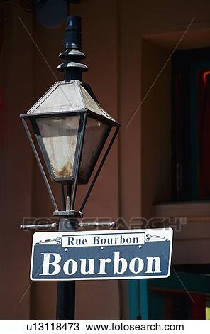Lamp Post And Bourbon Street Sign In New Orleans Stock Image
