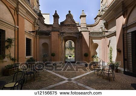 Teilausschnitt, von, inner, hof, von, italienische renaissance, palazzo,  mit, bögen, windows, nachgebildet, pavimenti, mauerstein, design, und, ...
