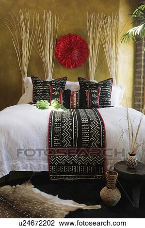 Stock Photo Of Black White And Red Decorative Pillows And Bed