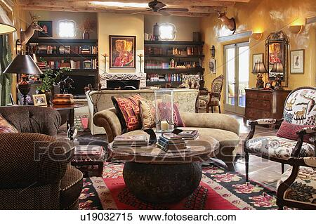 Living Room Interior Southwestern Style Home Stock Photography