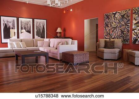 Pavimenti legno duro, in, contemporaneo, soggiorno, con, pareti ...