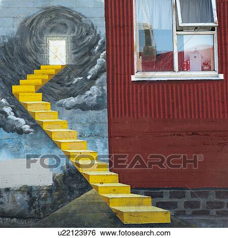 Stock images of painted trompe l 39 oeil staircase beside for Poster fenetre trompe l oeil