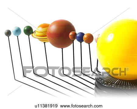 Solar system model on white background Stock Photo