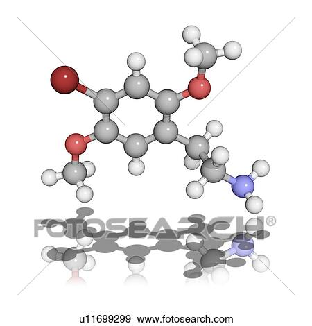 2C-B psychedelic drug, molecular model Stock Photo