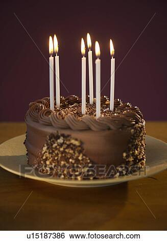 Tremendous Studio Shot Of Chocolate Birthday Cake Stock Photograph Personalised Birthday Cards Bromeletsinfo