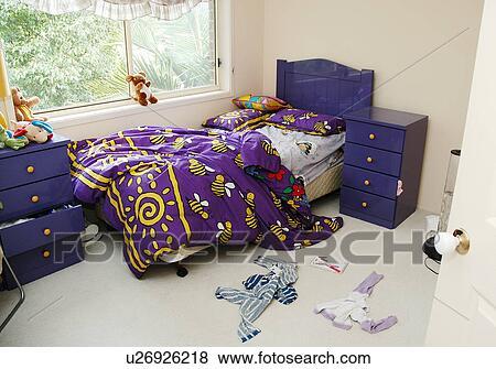 Messy kids bedroom Stock Photo