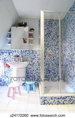 Bathroom With Shower And Mosaic Tiles Stock Image