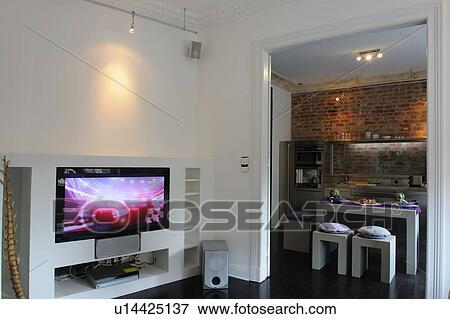Immagine - moderno, aprire programma, cucina, e, widescreen tv, in ...