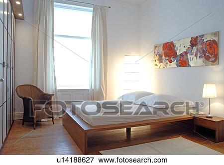 Beeld - slaapkamer, met, schilderij, boven, de, bed u14188627 - Zoek ...
