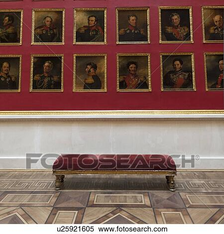 Paintings of famous Russian leaders in a museum, Winter Palace, State  Hermitage Museum, Palace Square, St  Petersburg, Russia Stock Photography