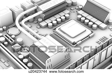 motherboard computer artwork of the main circuit board (motherboard