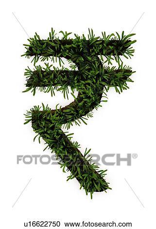 Stock Photography Of Plants Growing On Indian Rupee Symbol U16622750