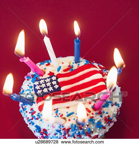 Birthday cake with American flag Stock Photo | u28689728 | Fotosearch