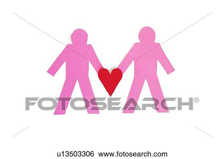 Stock Images Of Two Paper Stick Figures Holding A Red Heart Over