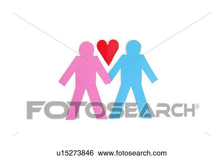 Two Stick Figures Holding Hands With A Red Paper Heart Over White