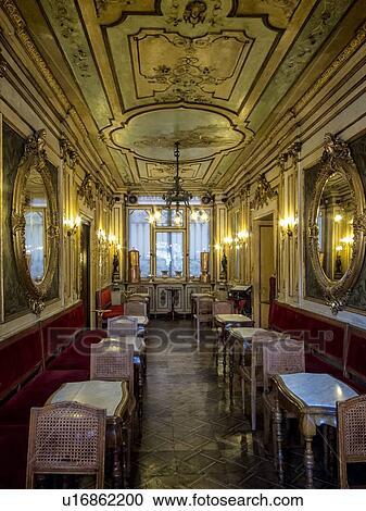 Banco de Fotografías - café, florian:, visión interior, con, florido ...