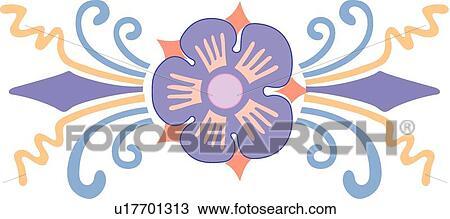 紫色の 花 で 青 そして Tan ライン クリップアート切り張り