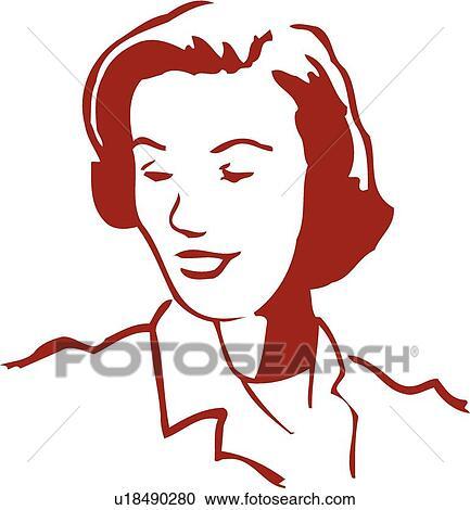 赤 レトロ イラスト の ヘッドアンドショルダー の 女性の見る