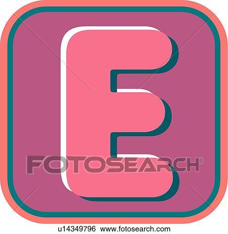 clip art of blister letter e u14349796 search clipart rh fotosearch com letter a clipart letter e clipart black and white