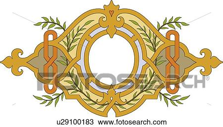 Brown And Gold Oval Frame With Leaf Decoration