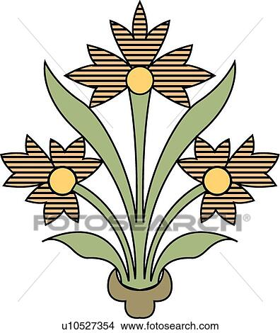 Clipart Of Brown And Yellow Flowers In Flower Pot U10527354