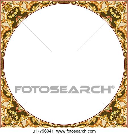 Clipart of Brown, Tan and Orange Round Frame u17796041 - Search Clip ...