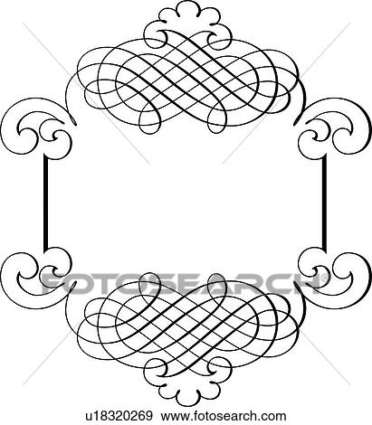 Clip Art of Calligraphic Design of single line border ...
