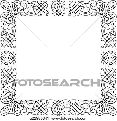 Clipart of Crisscross Calligraphic Design of square frame u22985341 ...