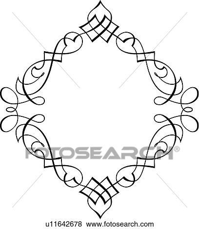 clip art of diamond shape calligraphic design u11642678 search