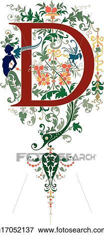 Clip art of fancy letter d u17052137 search clipart illustration fancy letter d altavistaventures Image collections