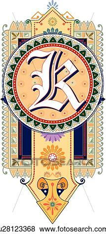 Clip Art Of Fancy Letter K U28123368 Search Clipart Illustration