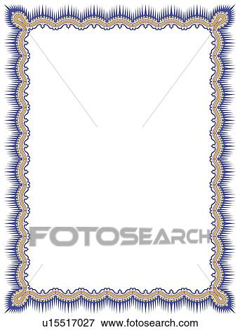 Gold And Blue Fringed Victorian Border Clip Art