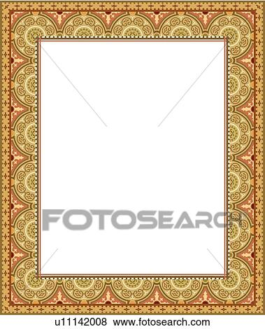 Clip Art Of Gold And Pink Fancy Border U11142008