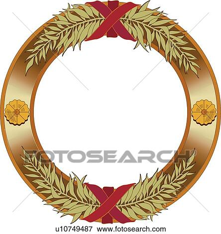 Clip Art Of Gold Circle Frame With Yellow Flowers Green Leaf