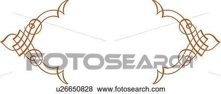 Clip Art Of Gold Fancy Lines With Copy Space U26650828