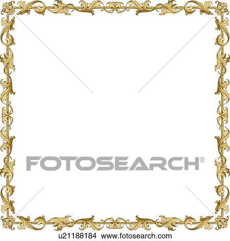 Clipart Of Gold Leaf Decorative Frame U21188184 Search Clip Art