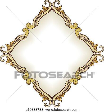 clip art of gold leaf diamond shape frame u19388788 search clipart