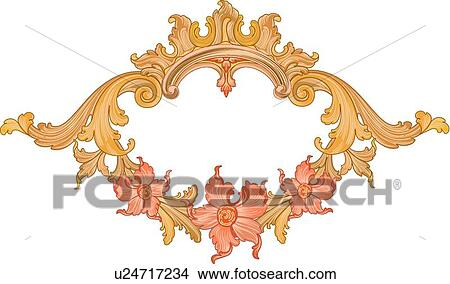 Clipart Of Gold Leaf Oval Frame With Three Orange Hibiscus U24717234