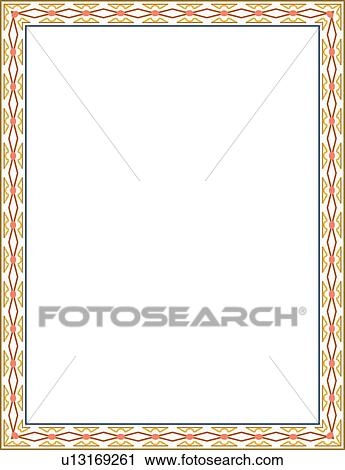 gold orange and blue arabesque border