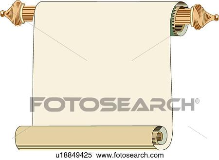 Clipart of Gold paper scroll Frame on a brown rod u18849425 - Search ...
