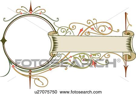 clipart of gold scroll banner with open circle frame and orange and