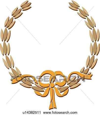 Clipart of Gold wreath and ribbon Frame u14382511 - Search Clip Art ...