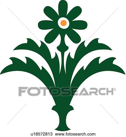 Clipart Of Green Flower With Vase U18572813 Search Clip Art