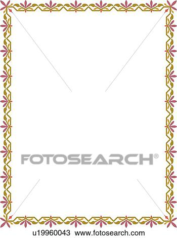 Green Gold And Pink Border