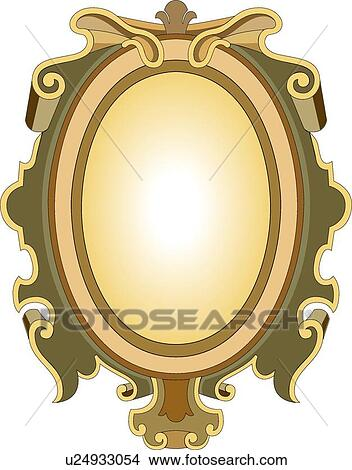 Clipart Of Green Yellow Gold And Brown Oval Frame U24933054