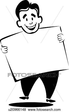 clip art of happy man holding sign u20966148 search clipart rh fotosearch com fotosearch clip art trigger point clipart fotosearch weihnachten