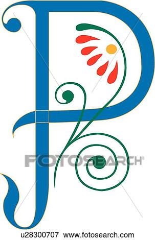 clip art of letter p u28300707 search clipart illustration rh fotosearch com fancy letter p clipart fancy letter p clipart